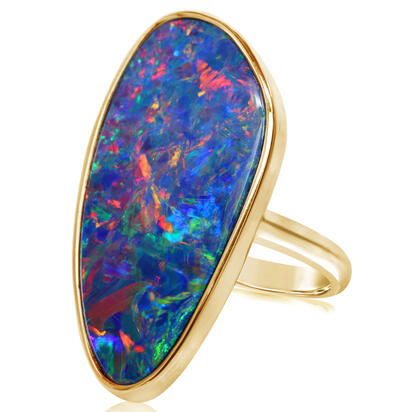 14K Yellow Gold Australian Opal Doublet Ring - Large Version | ROD262L-8I