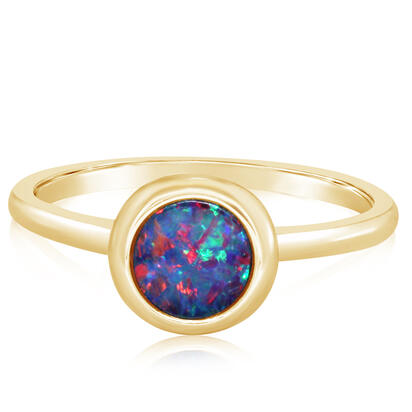14K Yellow Gold 6mm Round Australian Opal Doublet Ring