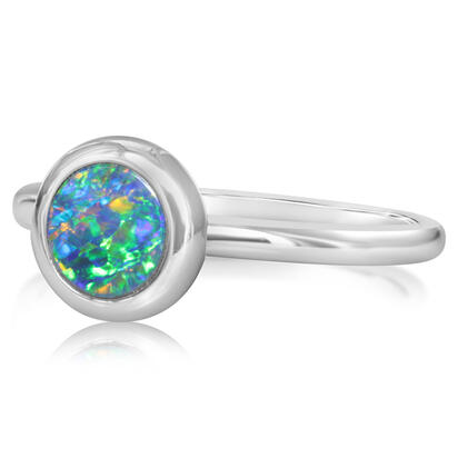 14K White Gold 6mm Round Australian Opal Doublet Ring | ROD266ADXWI
