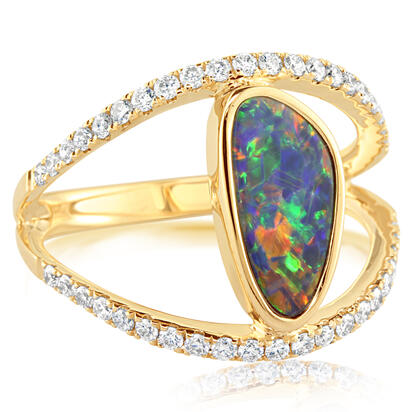 14K Yellow Gold Australian Opal Doublet/Diamond Ring | ROD271-2I