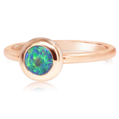 14K Yellow Gold 5mm Round Australian Opal Doublet Ring | ROD320ADXCI