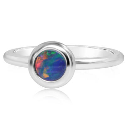 14K White Gold 5mm Round Australian Opal Doublet Ring | ROD320ADXWI