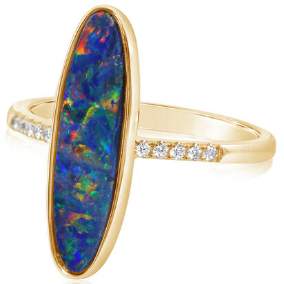14K Yellow Gold Australian Opal Doublet/Diamond Ring , N' | ROD3281A2CI