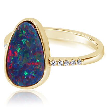 14K Yellow Gold Australian Opal Doublet/Diamond Ring , N' | ROD3282A2CI