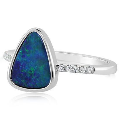 14K White Gold Australian Opal Doublet/Diamond Ring , N' | ROD3282A2WI