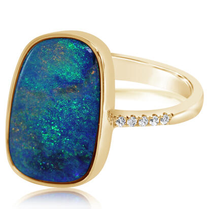 14K Yellow Gold Australian Opal Doublet/Diamond Ring , N'