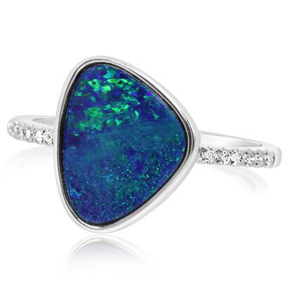 14K White Gold Australian Opal Doublet/Diamond Ring , N' | ROD3283A2WI-13