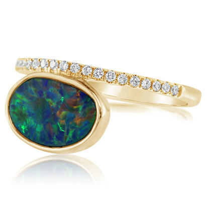 14K Yellow Gold Australian Opal Doublet/Diamond Ring , N' | ROD3292A2CI