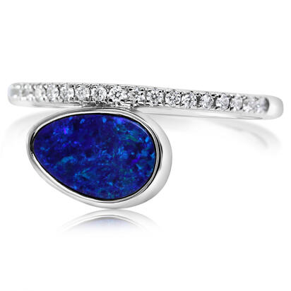 14K White Gold Australian Opal Doublet/Diamond Ring , N' | ROD3292A2WI