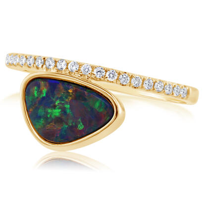 14K Yellow Gold Australian Opal Doublet/Diamond Ring , N' | ROD3293A2CI