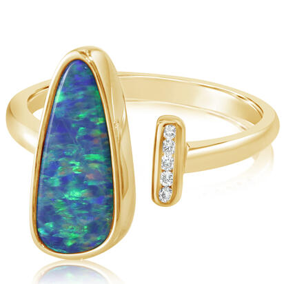 14K Yellow Gold Australian Opal Doublet/Diamond Ring , N' | ROD3302A2CI