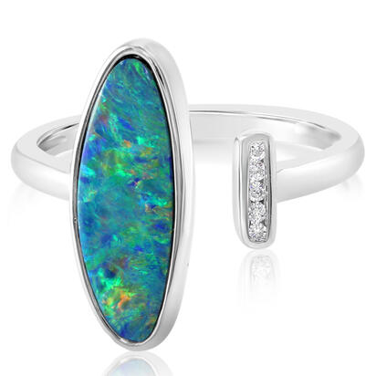 14K White Gold Australian Opal Doublet/Diamond Ring , N' | ROD3302A2WI