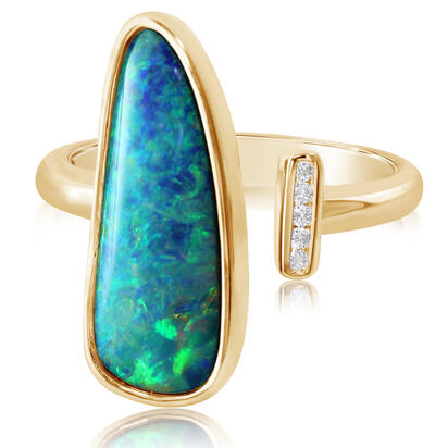 14K Yellow Gold Australian Opal Doublet/Diamond Ring , N' | ROD3304A2CI