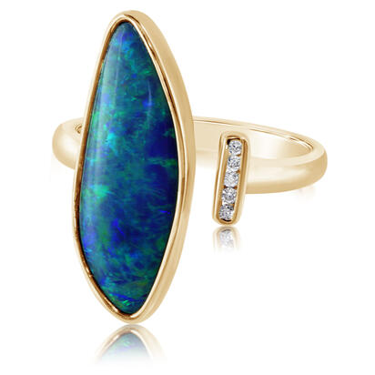 14K Yellow Gold Australian Opal Doublet/Diamond Ring , N' | ROD3305A2CI
