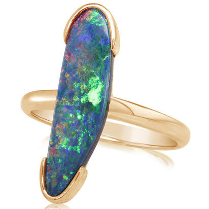 14K Yellow Gold Australian Opal Doublet Ring | ROD3313AXCI