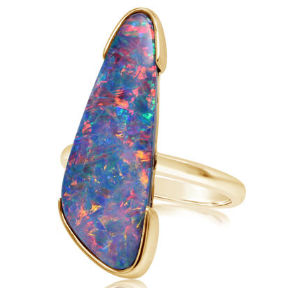 14K Yellow Gold Australian Opal Doublet Ring