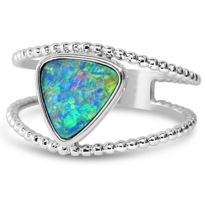 14K White Gold Australian Opal Doublet Split Beaded Shank Ring | RODW260I