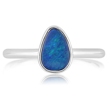 14K White Gold Australian Opal Doublet Smooth Shank Ring