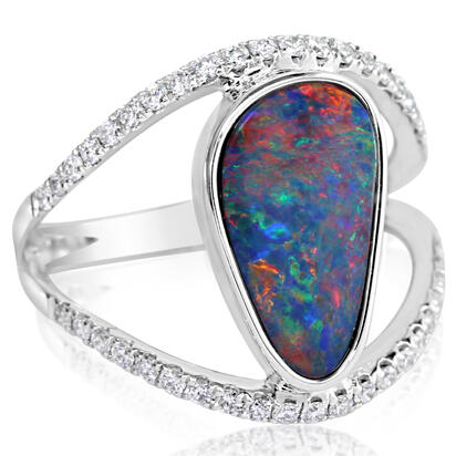 14K White Gold Australian Opal Doublet/Diamond Ring | RODW271-2I