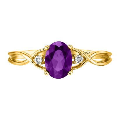 14K Yellow Gold Amethyst/Diamond Ring | RPF046A22CI