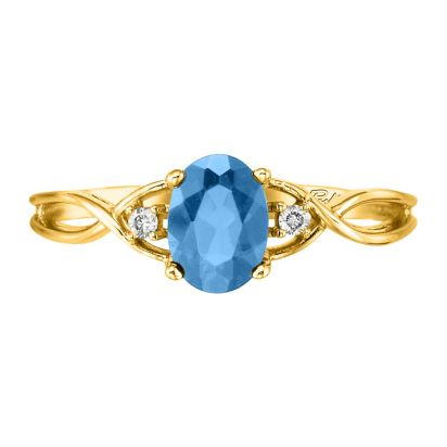 14K Yellow Gold Blue Topaz/Diamond Ring | RPF046B22CI