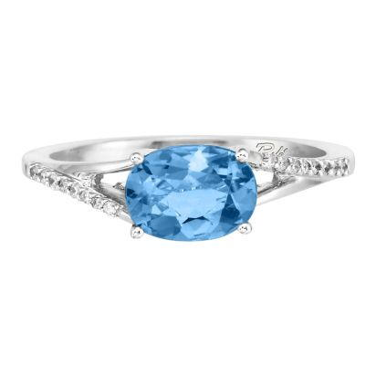 14K White Gold Blue Topaz/Diamond Ring | RPF049B22WI
