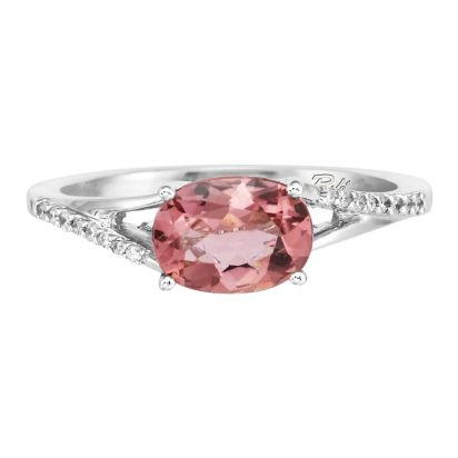 14K White Gold Pink Tourmaline/Diamond Ring