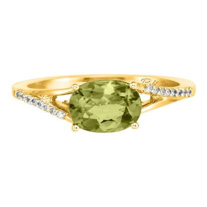 14K Yellow Gold Peridot/Diamond Ring | RPF049T22CI