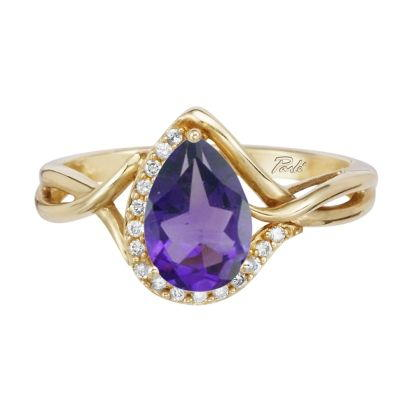 14K Yellow Gold Amethyst/Diamond Ring | RPF068A22CI