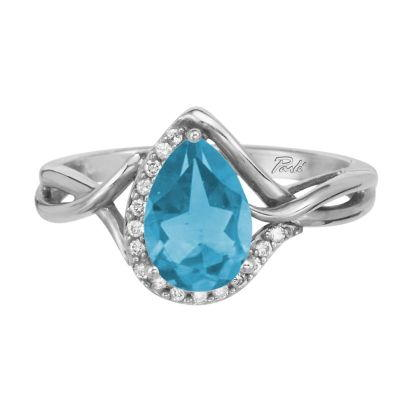 14K White Gold Blue Topaz/Diamond Ring | RPF068B22WI
