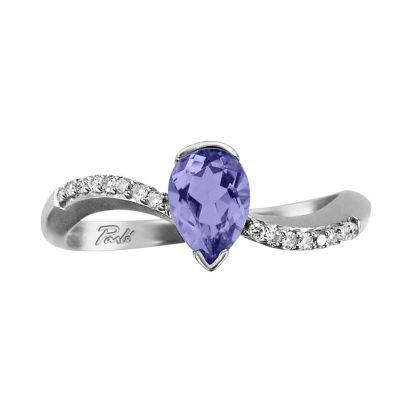 -Close0ut-14K White Gold Tanzanite/Diamond Ring | RPF069J22WI