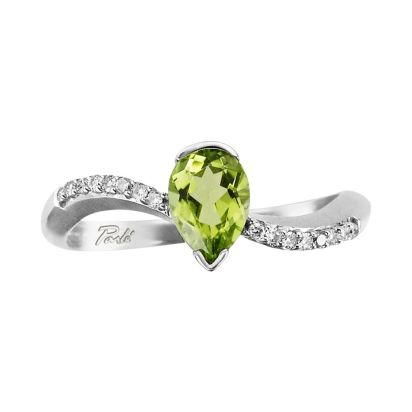 14K White Gold Peridot/Diamond Ring | RPF069T22WI