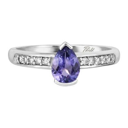 14K White Gold Tanzanite/Diamond Ring | RPF070J22WI