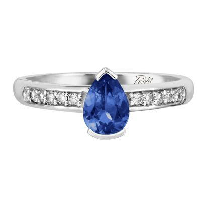 14K White Gold Blue Sapphire/Diamond Ring | RPF070SC2WI