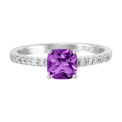 14K White Gold Amethyst/Diamond Ring | RPF076AK2WI