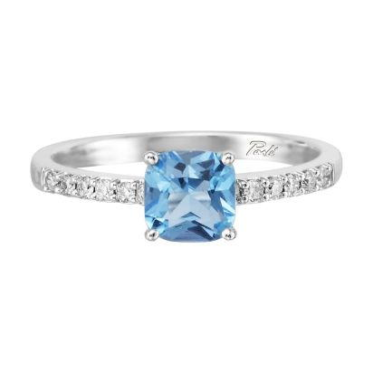14K White Gold Blue Topaz/Diamond Ring | RPF076B22WI