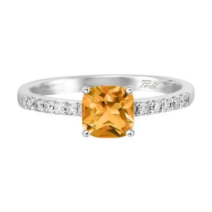 14K White Gold Citrine/Diamond Ring