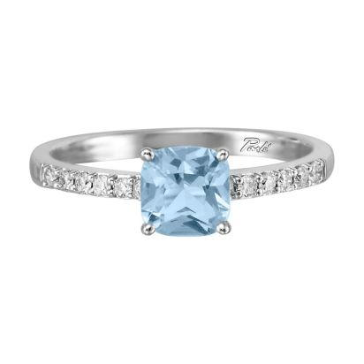 14K White Gold Aquamarine/Diamond Ring | RPF076QK2WI