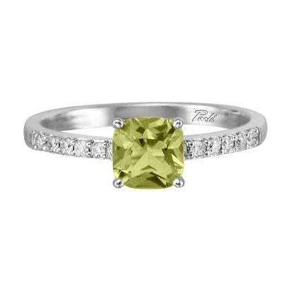 14K White Gold Peridot/Diamond Ring | RPF076TK2WI