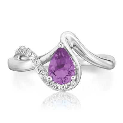 14K White Gold Amethyst/Diamond Ring | RPF082A23WI