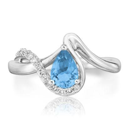 14K White Gold Blue Topaz/Diamond Ring | RPF082B23WI
