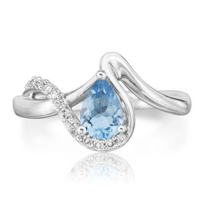 14K White Gold Aquamarine/Diamond Ring | RPF082Q23WI