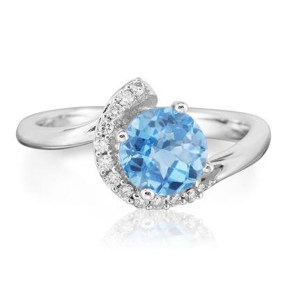 14K White Gold Blue Topaz/Diamond Ring | RPF094BC2WI
