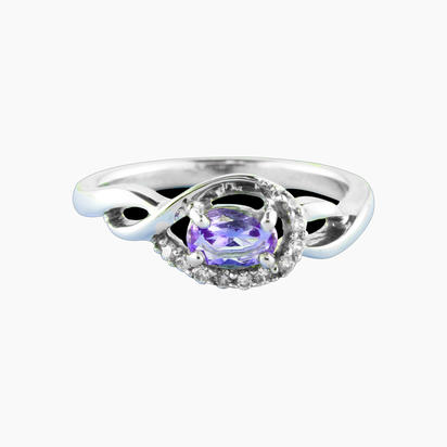 14K White Gold Peacock Tanzanite/Diamond Ring | RPF095FT3WI
