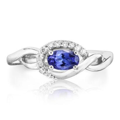 14K White Gold Tanzanite/Diamond Ring | RPF095J23WI