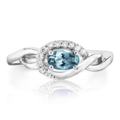 14K White Gold Aquamarine/Diamond Ring | RPF095Q23WI