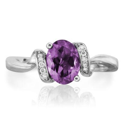 14K White Gold Amethyst/Diamond Ring | RPF097A22WI