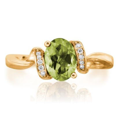 14K Yellow Gold Peridot/Diamond Ring | RPF097T22CI