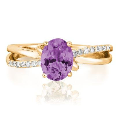 14K Yellow Gold Amethyst/Diamond Ring | RPF103A22CI