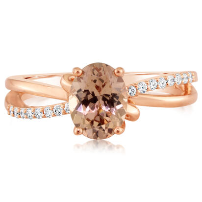 14K Rose Gold Lotus Garnet/Diamond Ring | RPF103LG2RI